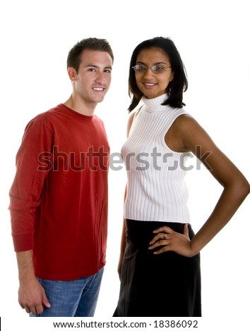 1037c117138 A casually dressed white man and a dressy Indian woman posing against white