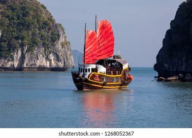 Cat Ba, Hai Phong, Vietnam - 11/23/2018:   Cruise boat in Lahn NaBay near Cat Ba Island.