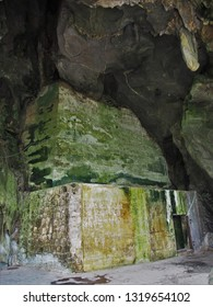 Cat Ba Island, Lan Ha Bay/ Vietnam - February 7th 2019: Entrance to the secret hospital and HQ built inside a cave used by Viet Cong during the Vietnam war on Cat Ba Island in Lan Ha Bay/ Ha Long Bay