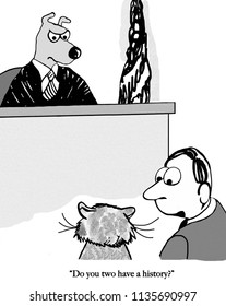 A cat is being defended by a lawyer in front of a dog judge.