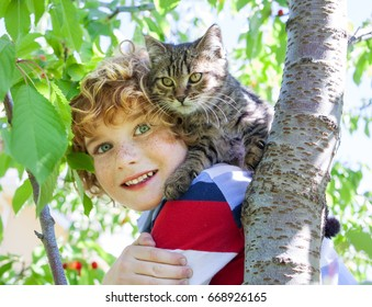 cat and boy, cute fluffy kitten and kid, the red-haired boy with freckles holding cat on a background of greenery and a summer garden