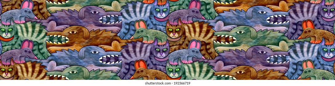 A cat is chasing a mouse and a dog is chasing a cat - seamless pattern in four shades.