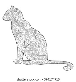 Cat Coloring pet adult raster illustration. Anti-stress coloring for adults. Zentangle style. Black and white lines. lace