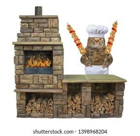 The cat cook with the grilled meat on the steel skewers is next to a brick bbq grill.  White background. Isolated.