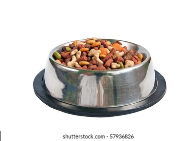 Cat and dog food in bowl isolated on white