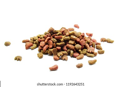 Cat and dog food isolated on white background