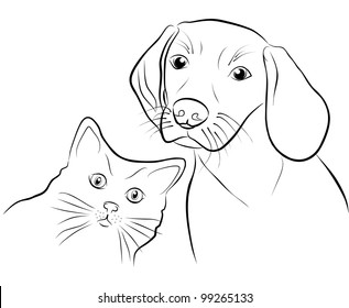 cat and dog - freehand on white background, illustration