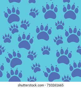 Cat or dog paw seamless pattern - animal footprint texture.