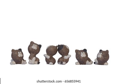 Cat Dolls Clay multiple position,Isolated on white