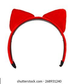 Cat ears headband isolate on white
