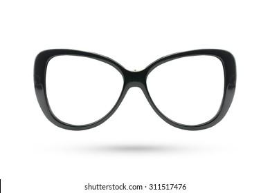 Cat eyes masquerade fashion glasses style isolated on white background.