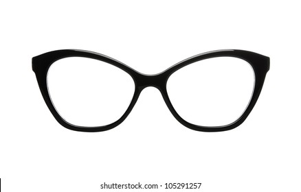 Cat eyes shaped retro glasses isolated on white with clipping path for easy background removal