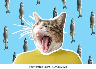 Cat and fish collage, pop art concept design. Minimal vibrant background.