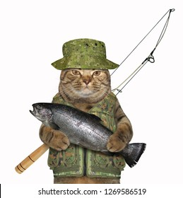 The cat fisher in uniform is holding a big fish. White background.