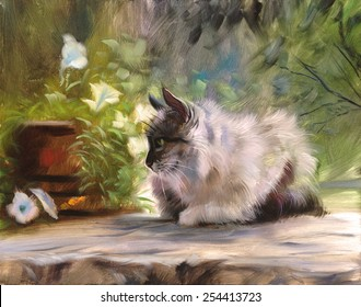 Cat and flowers nature oil painting