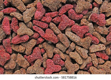 Cat food, granule, as background. Cat food texture pattern. Dry pet food textures studio photo.