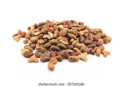 Cat Food, granules, isolated on white.