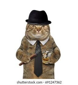 The cat gentleman is holding a cigar and a glass of whiskey. White background.