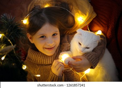 cat and a girl under the Christmas tree in a Christmas atmosphere, the concept of Christmas and New Year, happy childhood and pets
