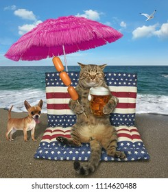 The cat with a glass of beer sits on a air bed under a pink umbrella on the beach. The dog is next to him.