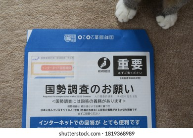 "Cat hands and questionnaires for Japan Census 2020 (国勢調査 kokusei chousa) distributed. The envelope says ""Please answer the census."" Kasukabe, Saitama, Japan, September 22, 2020."