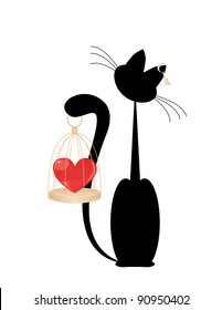 Cat and heart  on the gold cage on  white background