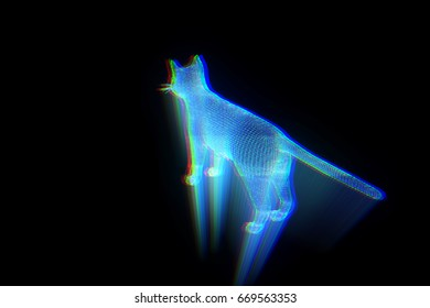 Cat in Hologram Wireframe Style. Nice 3D Rendering