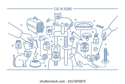 Cat in home contour banner with pet toys, meds and kitty meals. Horizontal outline line art illustration
