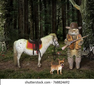 The cat hunter with a gun stands near a his horse in the forest.