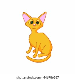 Cat icon in cartoon style isolated on white background