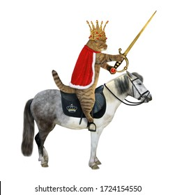 The cat king in a gold crown and a red cloak with a sword with a ruby rides a gray horse. White background. Isolated.
