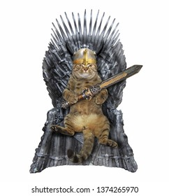 The cat king in a horned helmet with a sword is sitting on the iron throne. White background. Isolated.