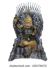 The cat king in knight armor with a sword is sitting on the iron throne. White background.
