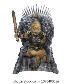 The cat king in a in knight armor with a sword is sitting on the iron throne. White background. Isolated.