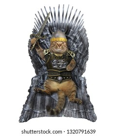 The cat knight in a helmet and a cuirass with a sword sits on the iron throne. White background.