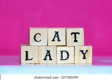 cat lady wooden cubes wallpaper