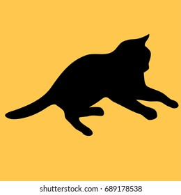 cat logo. Dark black silhouette isolated from background. Cat pet in line art.