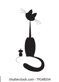cat and mouse sit and look