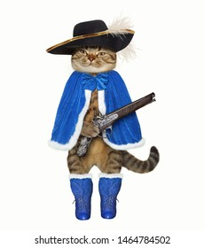 The cat musketeer in a blue cloak, boots and a black hat with a feather holds a flintlock pistol. White background. Isolated.