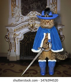 The cat musketeer in a blue cloak, a hat with a feather and boots holds a sword near a fireplace in the palace.
