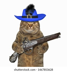 The cat musketeer in a blue hat with a feather holds a flintlock pistol. White background. Isolated.