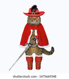 The cat musketeer in a red cloak, a hat with a feather and boots has a sword. White background. Isolated.