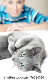 Cat pampering indoors and defocused smiling woman