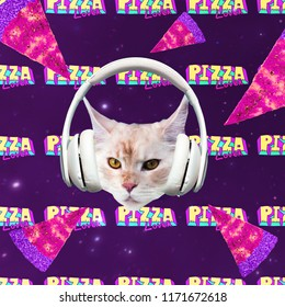 Cat Pizza Lover. Pizza space. Contemporary art collage. Funny Fast food project