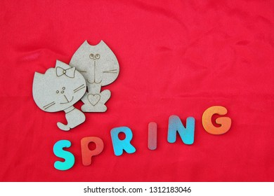Cat and pussycat on a red background. The concept of spring, love