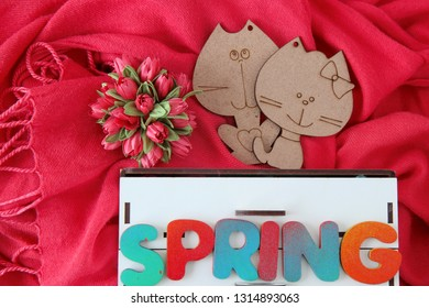 Cat and pussycat on a red background. Spring wooden letters. Happy mothers day