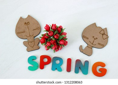Cat and pussycat on a white background. Spring wooden letters