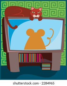 Cat relaxes on top of the television - mouse silhouette on the screen