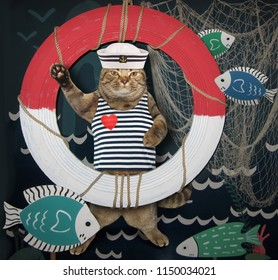 The cat sailor is standing next to a lifebuoy and a fishing net.