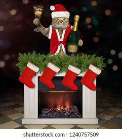 The cat in Santa Claus hat and red vest with a wine glass and a bottle of champagne is behind the Christmas fireplace.
